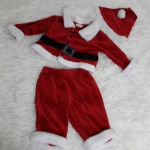 Cat & Jack 0-3 Month Newborn baby Santa 3pc outfit